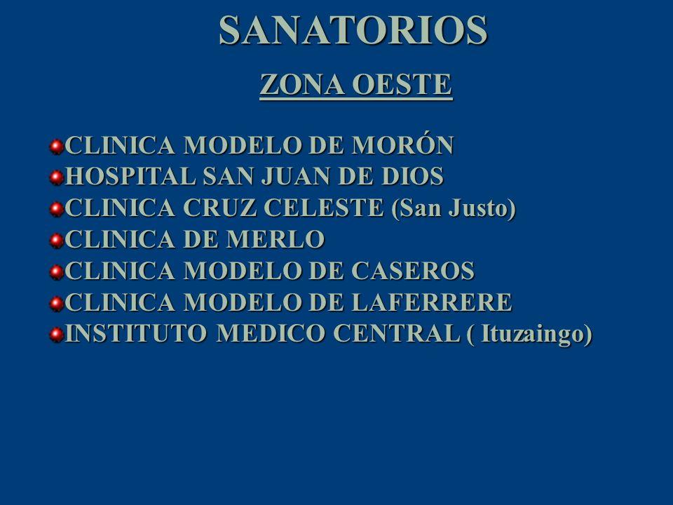 SANATORIOS ZONA OESTE CLINICA MODELO DE MORÓN