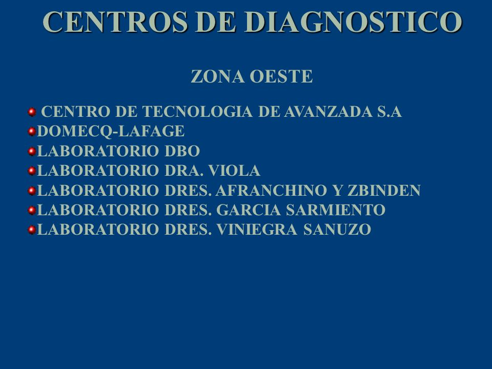 CENTROS DE DIAGNOSTICO