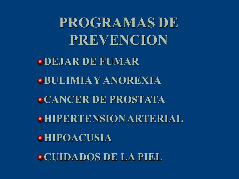 PROGRAMAS DE PREVENCION