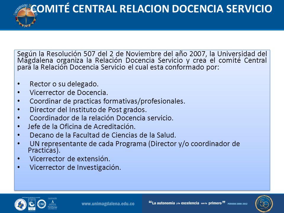 COMITÉ CENTRAL RELACION DOCENCIA SERVICIO