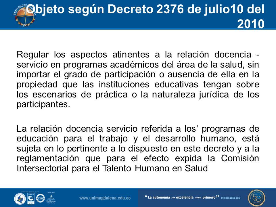 Objeto según Decreto 2376 de julio10 del 2010 Articulo 1-Objeto y ambito de aplicacion