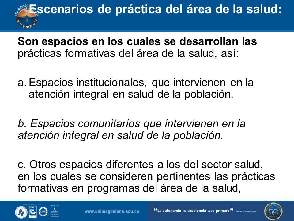Escenarios de práctica del área de la salud: