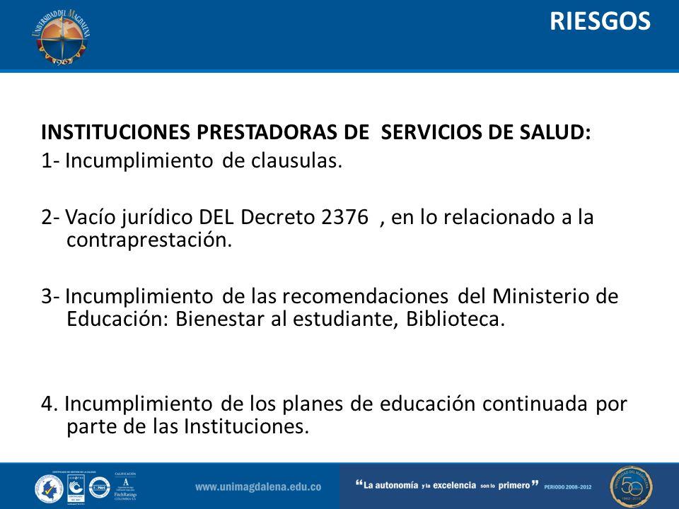 RIESGOS INSTITUCIONES PRESTADORAS DE SERVICIOS DE SALUD: