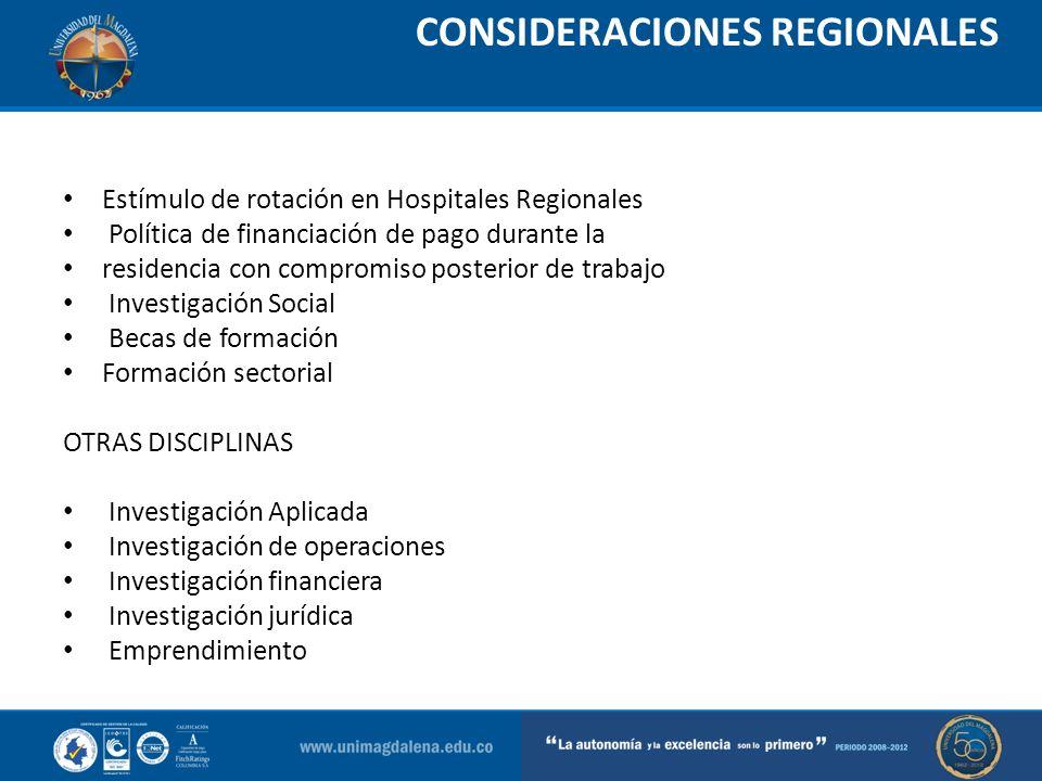 CONSIDERACIONES REGIONALES