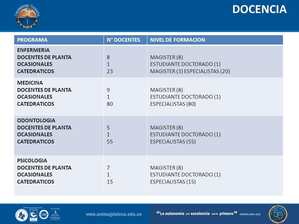 DOCENCIA PROGRAMA N° DOCENTES NIVEL DE FORMACION ENFERMERIA