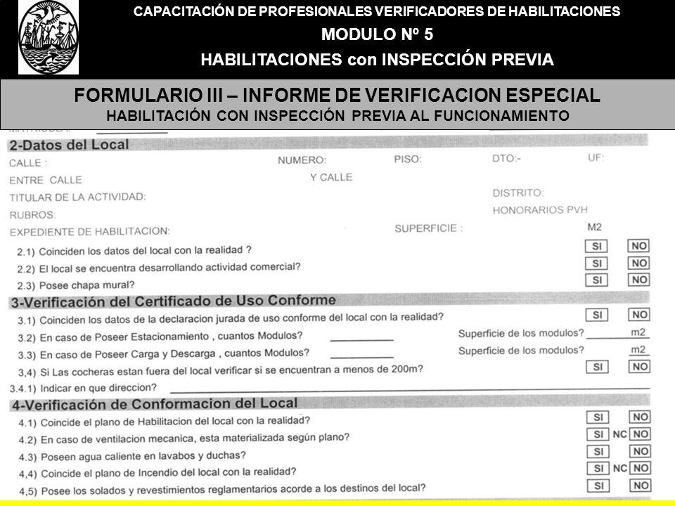 FORMULARIO III – INFORME DE VERIFICACION ESPECIAL