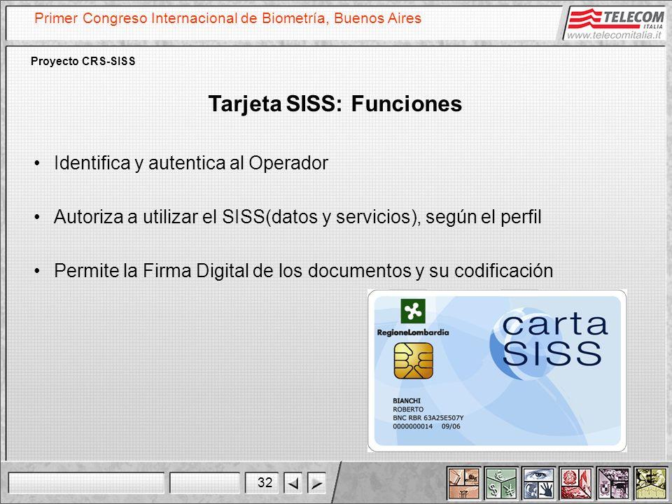 Tarjeta SISS: Funciones