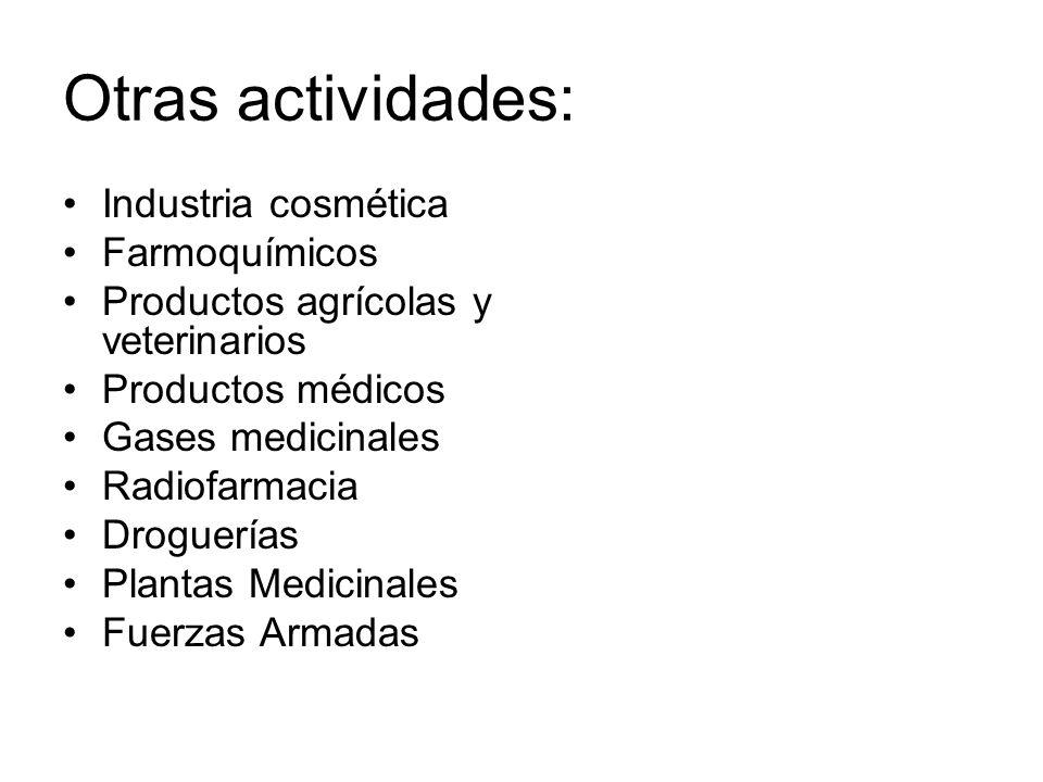 Otras actividades: Industria cosmética Farmoquímicos