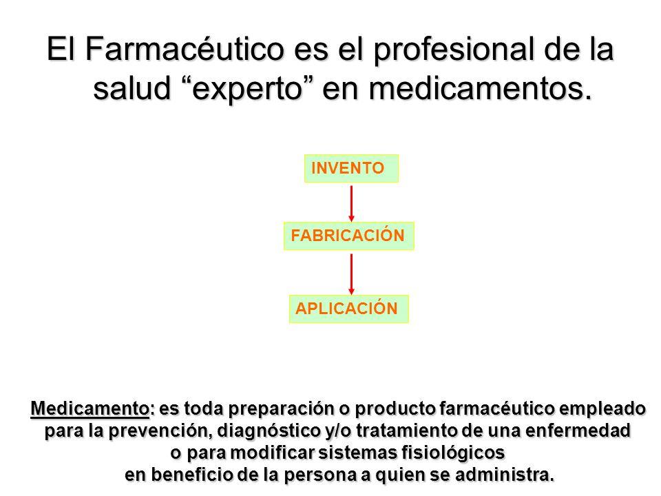El Farmacéutico es el profesional de la salud experto en medicamentos.