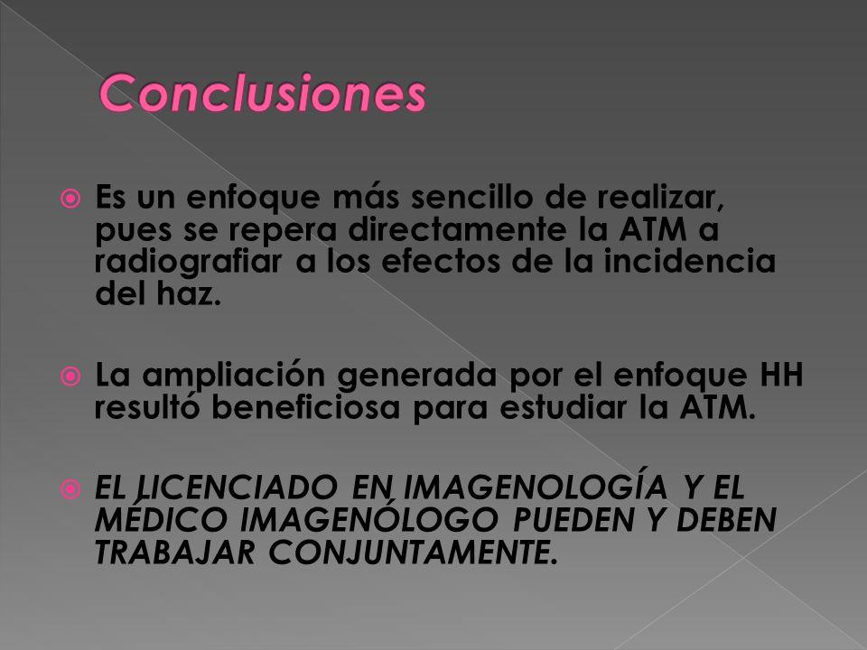 Conclusiones Es un enfoque más sencillo de realizar, pues se repera directamente la ATM a radiografiar a los efectos de la incidencia del haz.
