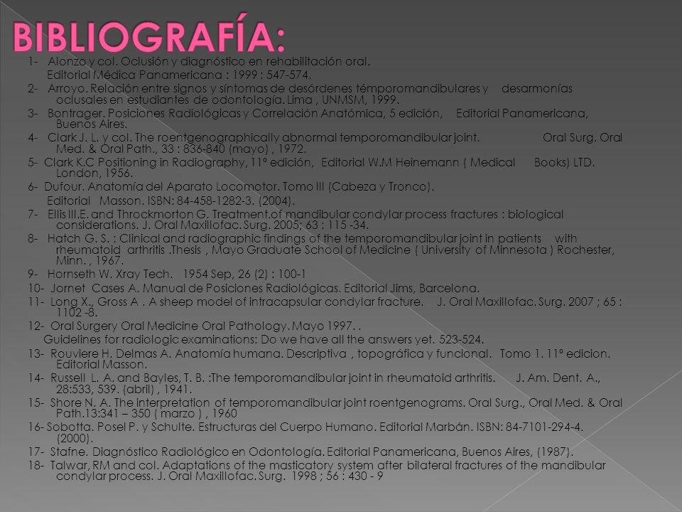 BIBLIOGRAFÍA: 1- Alonzo y col. Oclusión y diagnóstico en rehabilitación oral. Editorial Médica Panamericana : 1999 : 547-574.