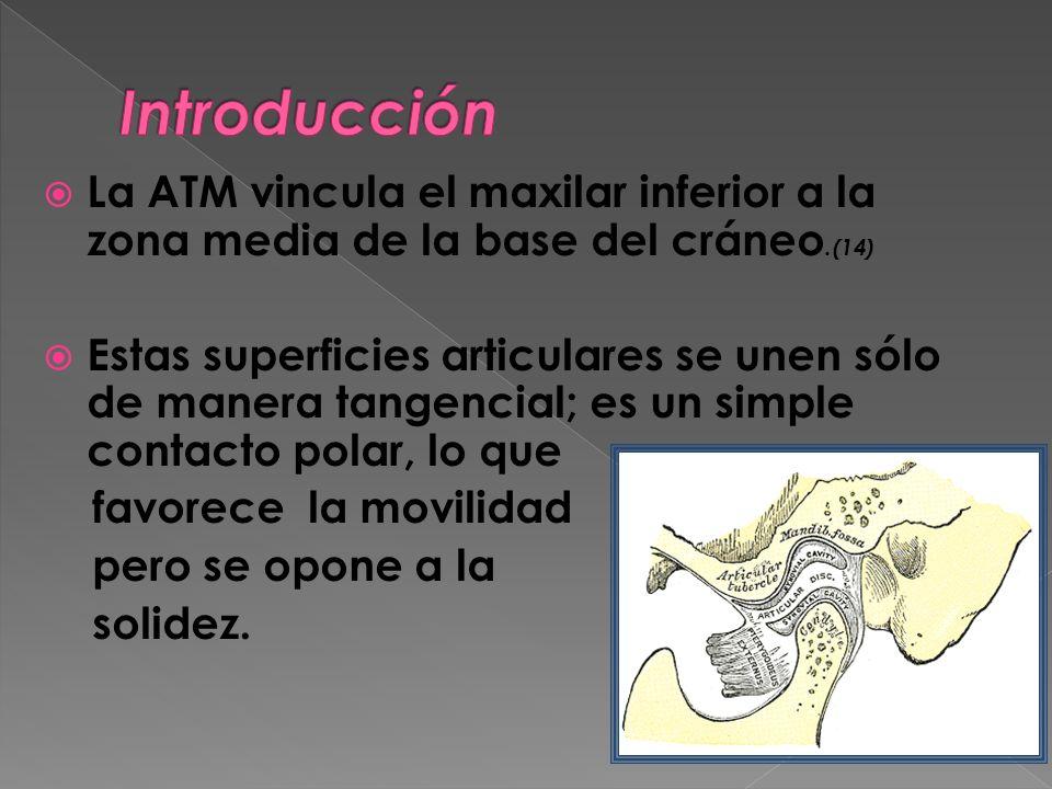 Introducción La ATM vincula el maxilar inferior a la zona media de la base del cráneo.(14)
