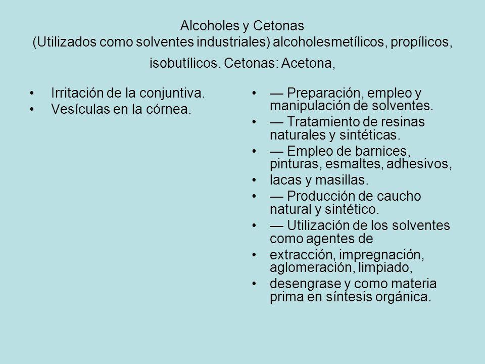 Alcoholes y Cetonas (Utilizados como solventes industriales) alcoholesmetílicos, propílicos, isobutílicos. Cetonas: Acetona,