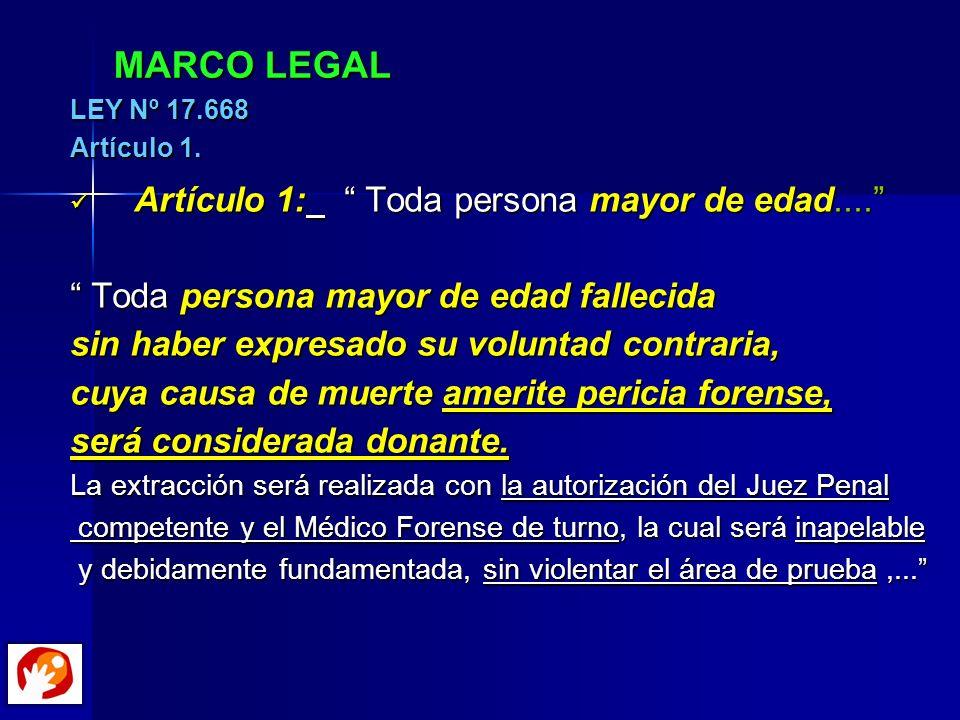 MARCO LEGAL Artículo 1: Toda persona mayor de edad....