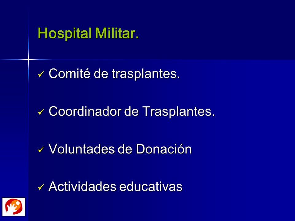 Hospital Militar. Comité de trasplantes. Coordinador de Trasplantes.