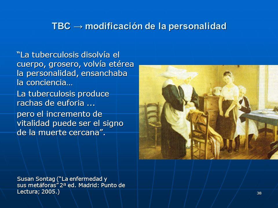 TBC → modificación de la personalidad