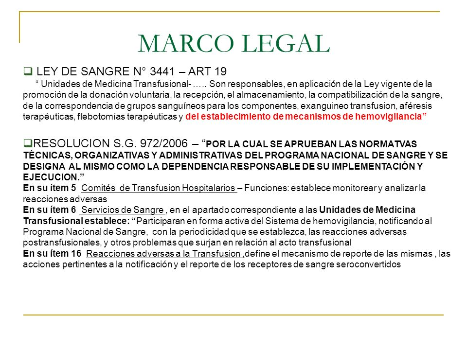 MARCO LEGAL LEY DE SANGRE N° 3441 – ART 19