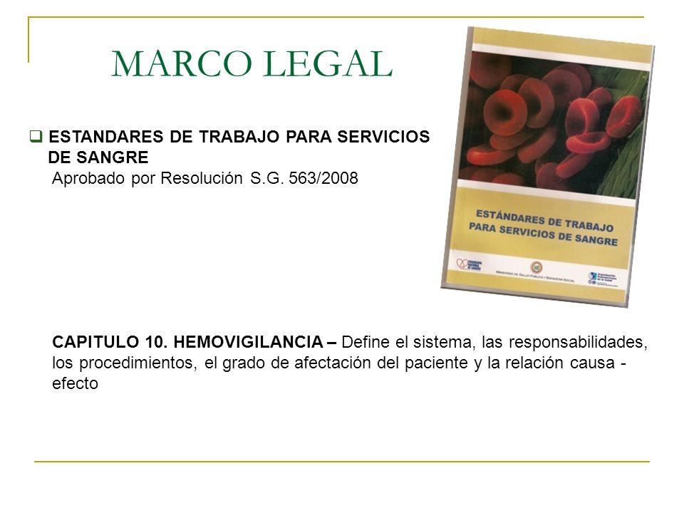 MARCO LEGAL ESTANDARES DE TRABAJO PARA SERVICIOS DE SANGRE