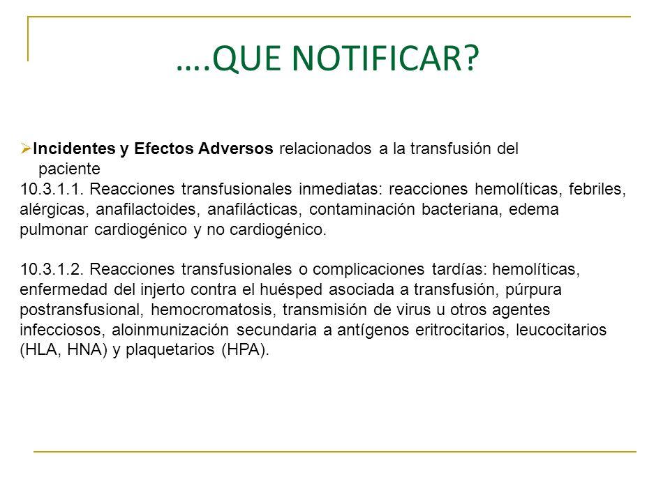….QUE NOTIFICAR Incidentes y Efectos Adversos relacionados a la transfusión del. paciente.