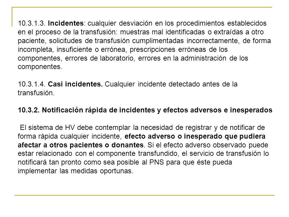 10.3.1.3. Incidentes: cualquier desviación en los procedimientos establecidos en el proceso de la transfusión: muestras mal identificadas o extraídas a otro paciente, solicitudes de transfusión cumplimentadas incorrectamente, de forma