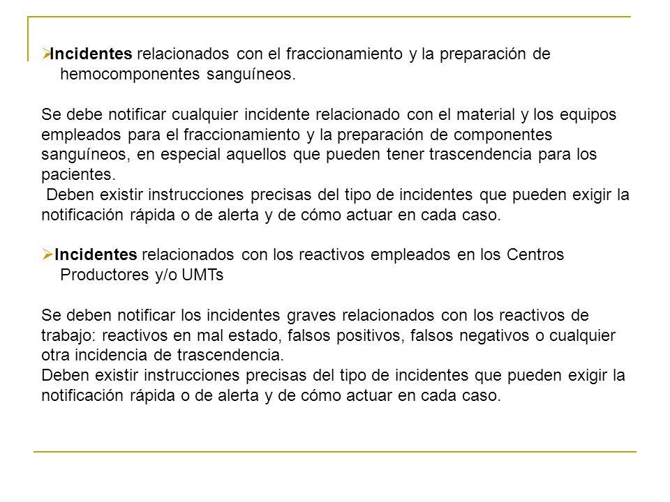 Incidentes relacionados con el fraccionamiento y la preparación de