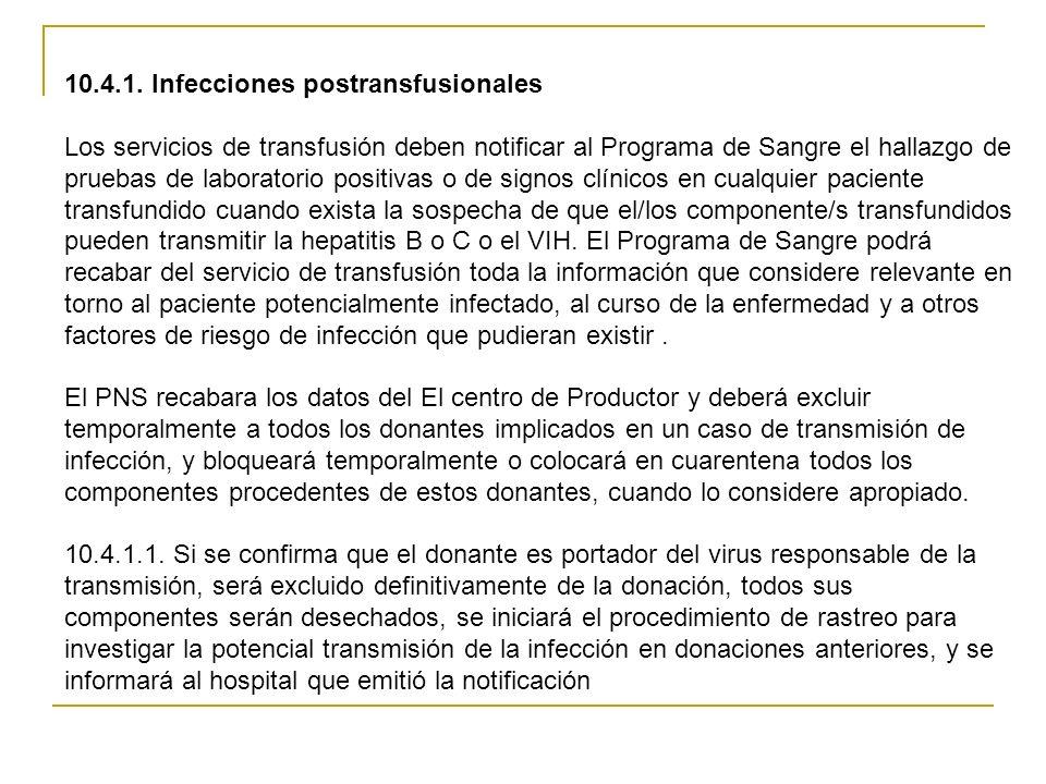 10.4.1. Infecciones postransfusionales