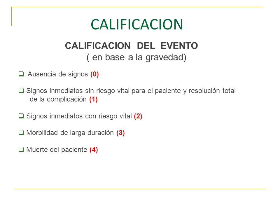 CALIFICACION DEL EVENTO