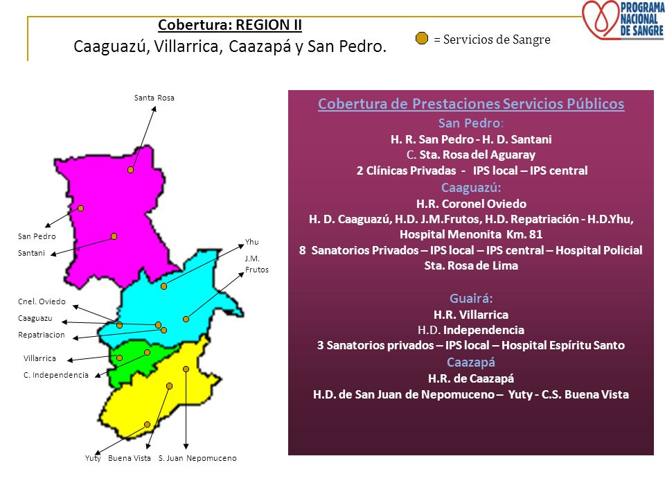 Caaguazú, Villarrica, Caazapá y San Pedro.
