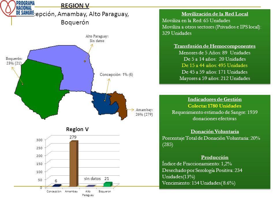 Concepción, Amambay, Alto Paraguay, Boquerón