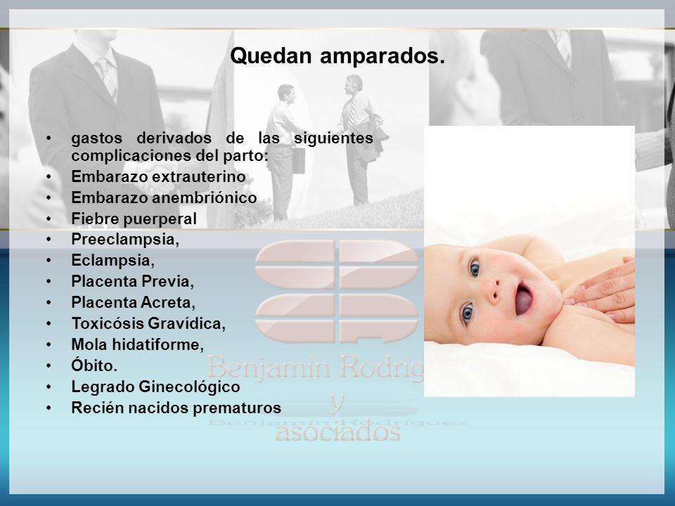Quedan amparados. gastos derivados de las siguientes complicaciones del parto: Embarazo extrauterino.
