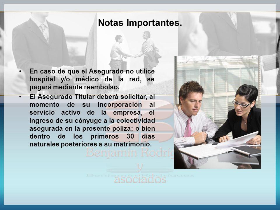 Notas Importantes. En caso de que el Asegurado no utilice hospital y/o médico de la red, se pagará mediante reembolso.