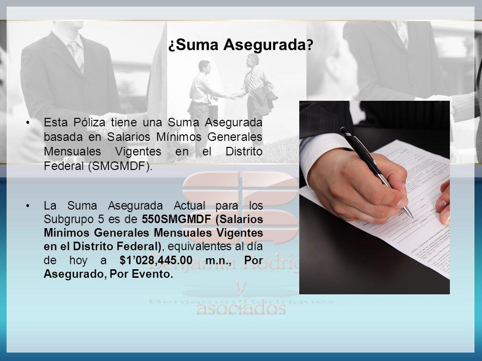 ¿Suma Asegurada Esta Póliza tiene una Suma Asegurada basada en Salarios Mínimos Generales Mensuales Vigentes en el Distrito Federal (SMGMDF).