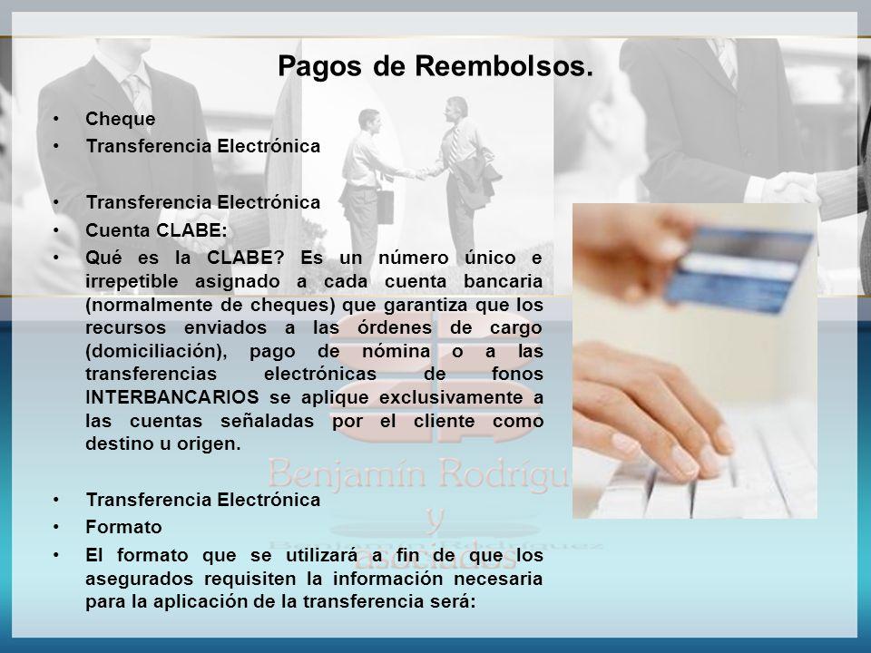 Pagos de Reembolsos. Cheque Transferencia Electrónica Cuenta CLABE: