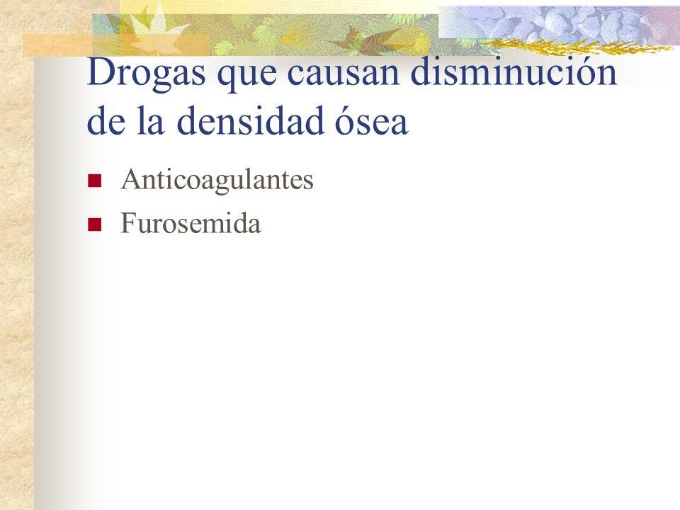 Drogas que causan disminución de la densidad ósea