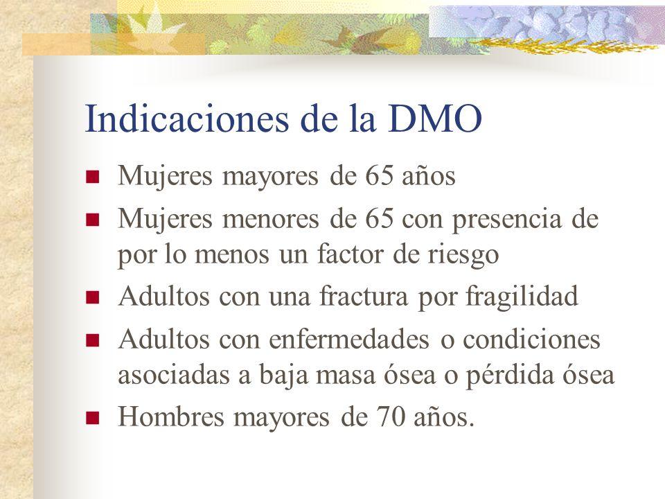 Indicaciones de la DMO Mujeres mayores de 65 años