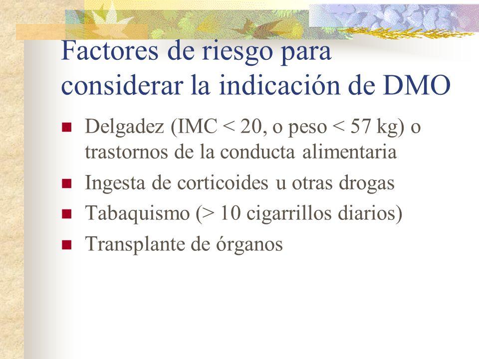Factores de riesgo para considerar la indicación de DMO