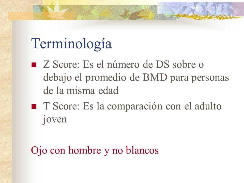 Terminología Z Score: Es el número de DS sobre o debajo el promedio de BMD para personas de la misma edad.