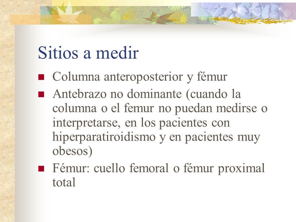Sitios a medir Columna anteroposterior y fémur
