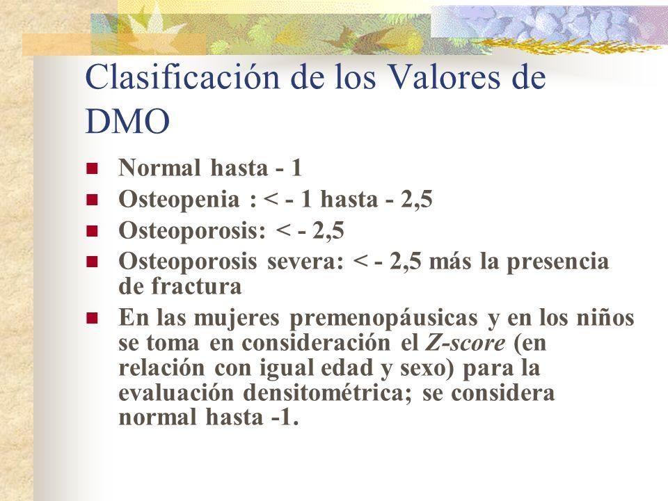 Clasificación de los Valores de DMO