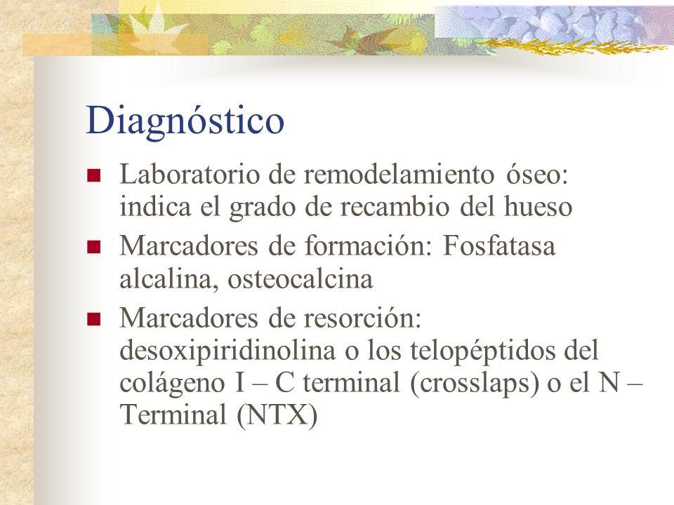 Diagnóstico Laboratorio de remodelamiento óseo: indica el grado de recambio del hueso. Marcadores de formación: Fosfatasa alcalina, osteocalcina.