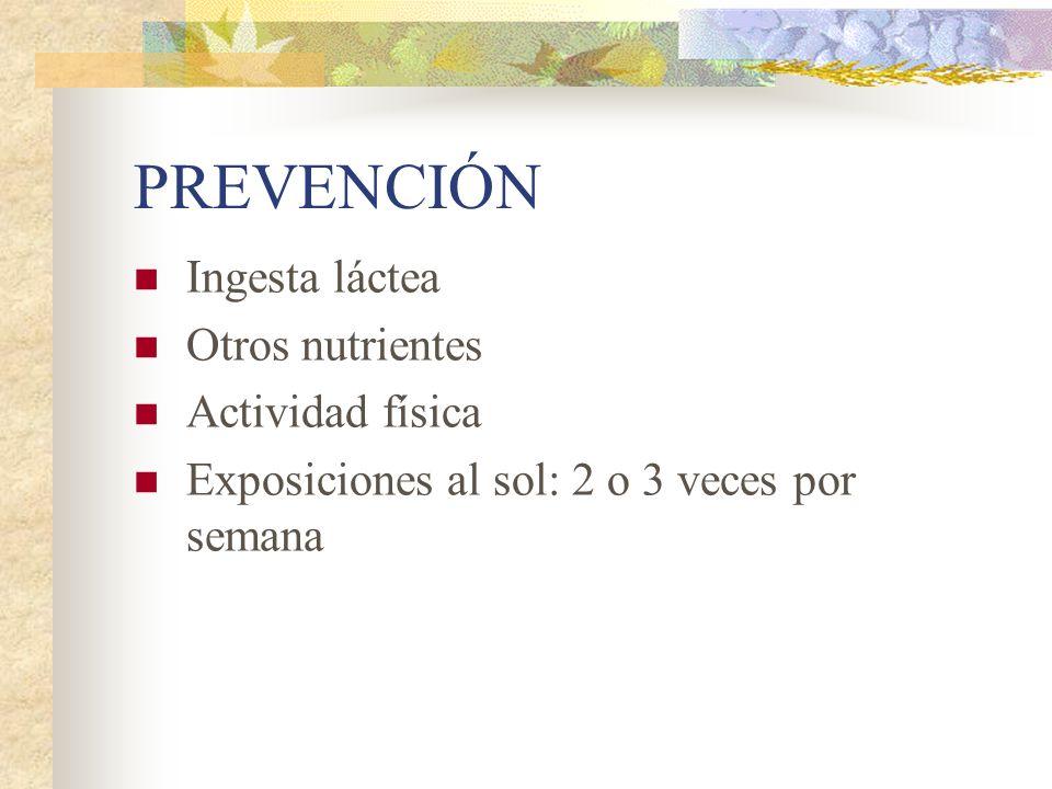 PREVENCIÓN Ingesta láctea Otros nutrientes Actividad física