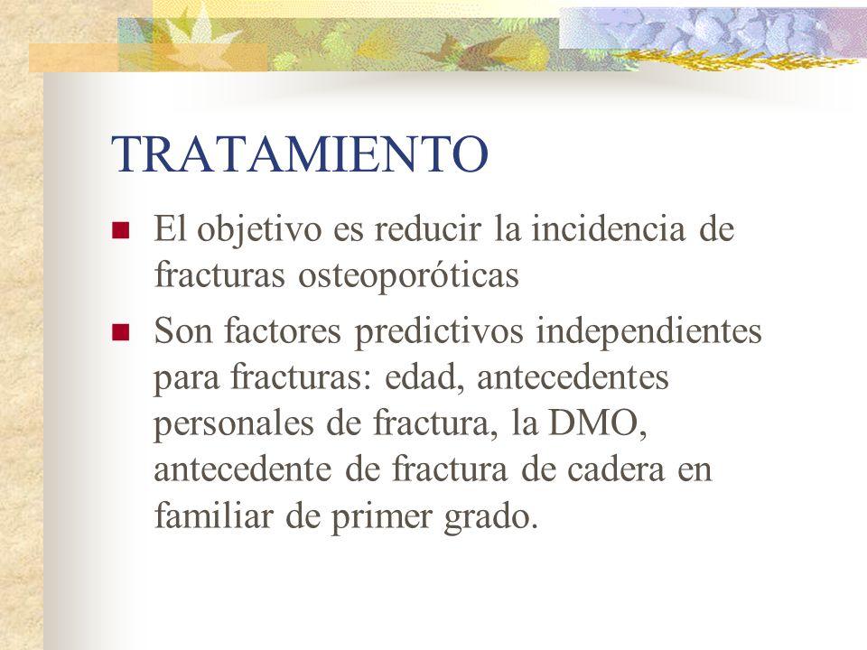 TRATAMIENTO El objetivo es reducir la incidencia de fracturas osteoporóticas.