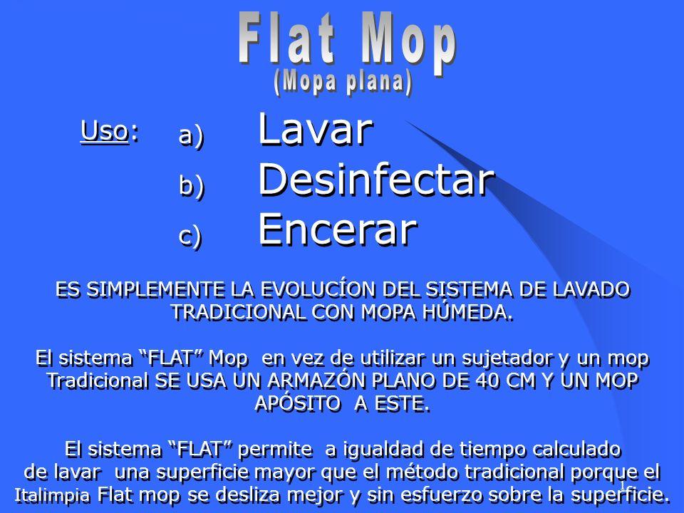 Flat Mop Lavar Desinfectar Encerar Uso: (Mopa plana)
