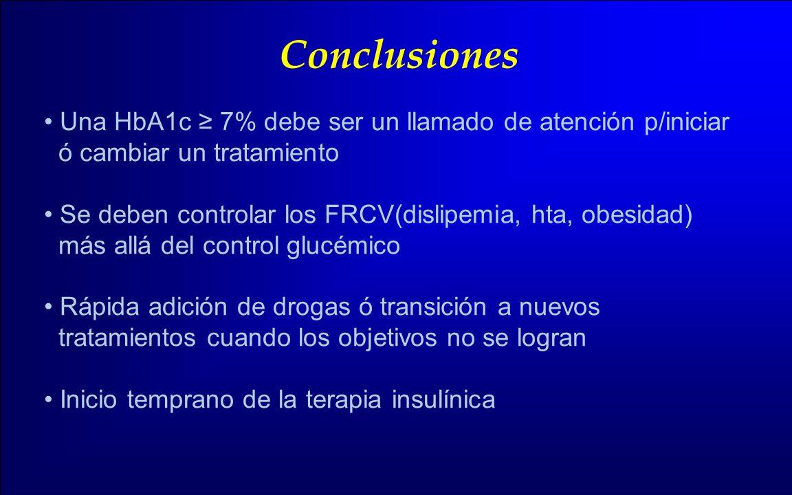 Conclusiones Una HbA1c ≥ 7% debe ser un llamado de atención p/iniciar
