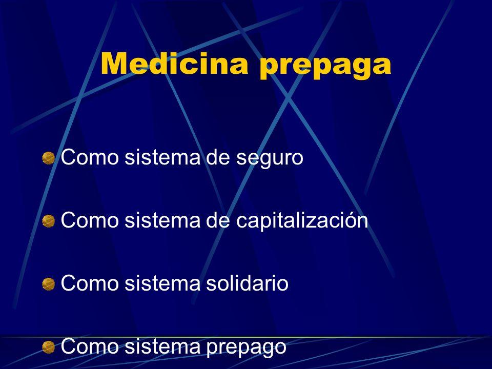 Medicina prepaga Como sistema de seguro Como sistema de capitalización