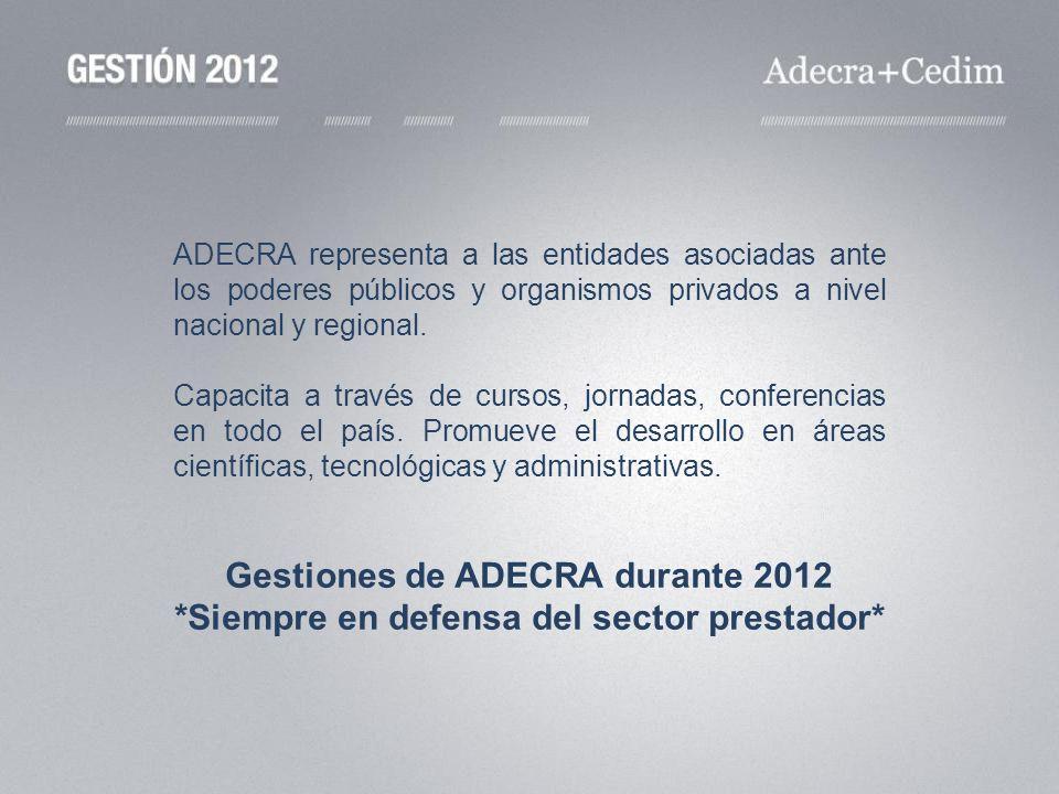 Gestiones de ADECRA durante 2012