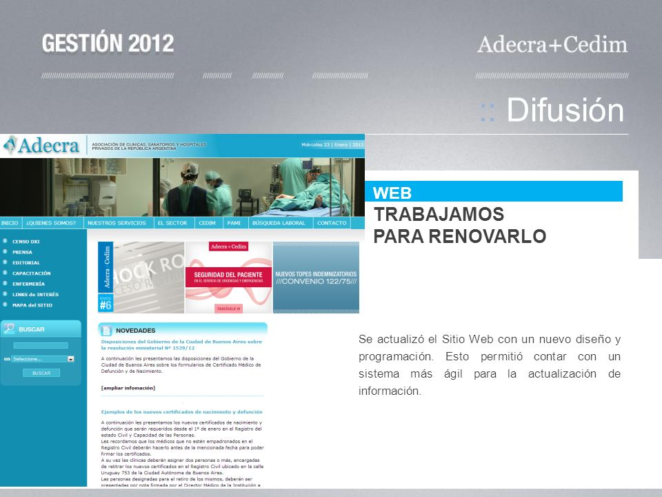 :: Difusión TRABAJAMOS PARA RENOVARLO WEB