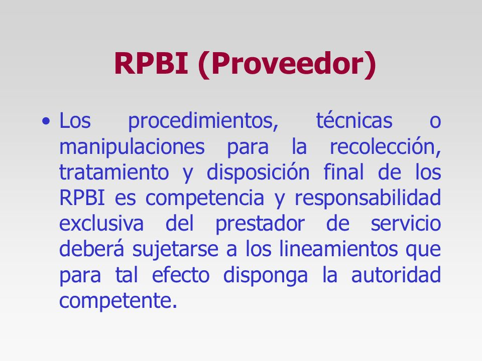 RPBI (Proveedor)