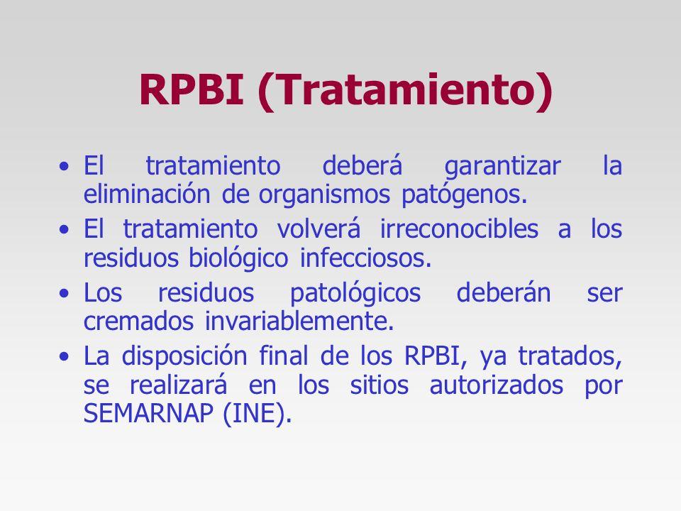 RPBI (Tratamiento) El tratamiento deberá garantizar la eliminación de organismos patógenos.