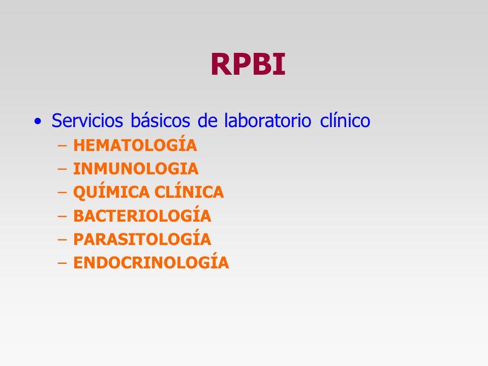 RPBI Servicios básicos de laboratorio clínico HEMATOLOGÍA INMUNOLOGIA